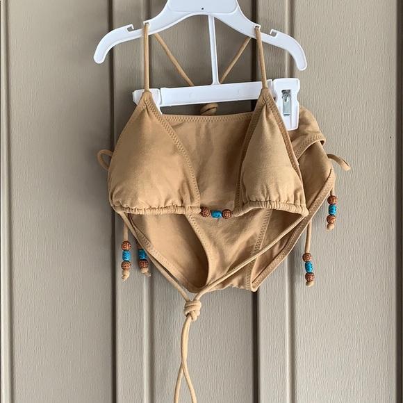 Other - Sand & Sun Tan Suede 2-Piece Swim Suit